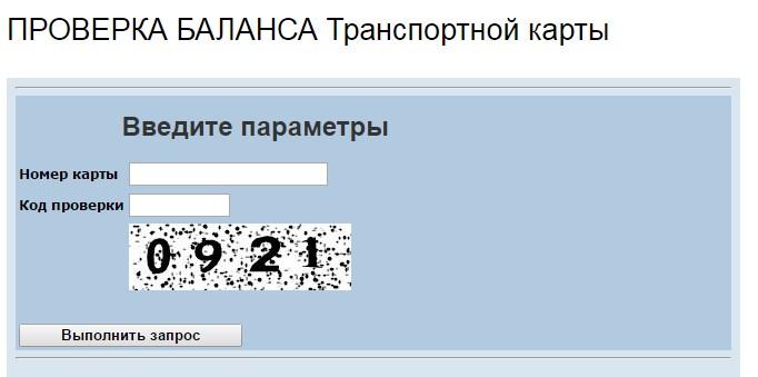 Шаг 2. Ввод номера проверяемой карты и кода проверки