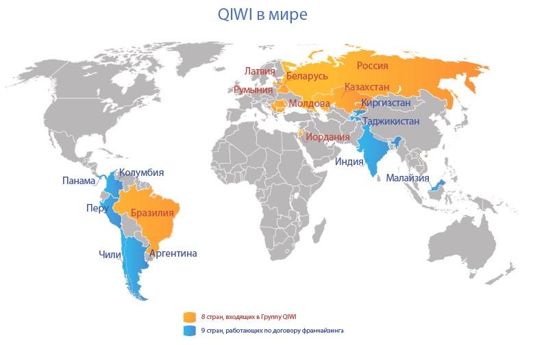 Страны в которых есть терминалы QIWI