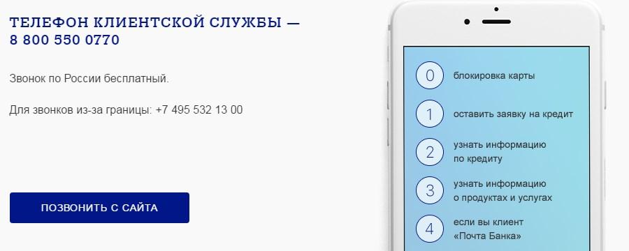 Телефон клиентской службы Почта Банка