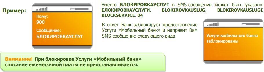 Перечень команд для блокировки Мобильного банка от Сбербанка