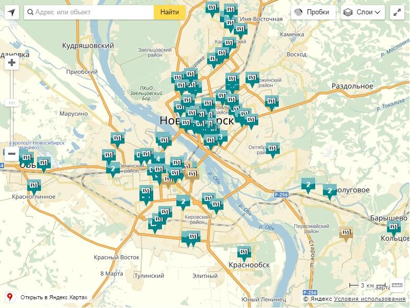 Карта банкоматов Левобережного банка в Новосибирске