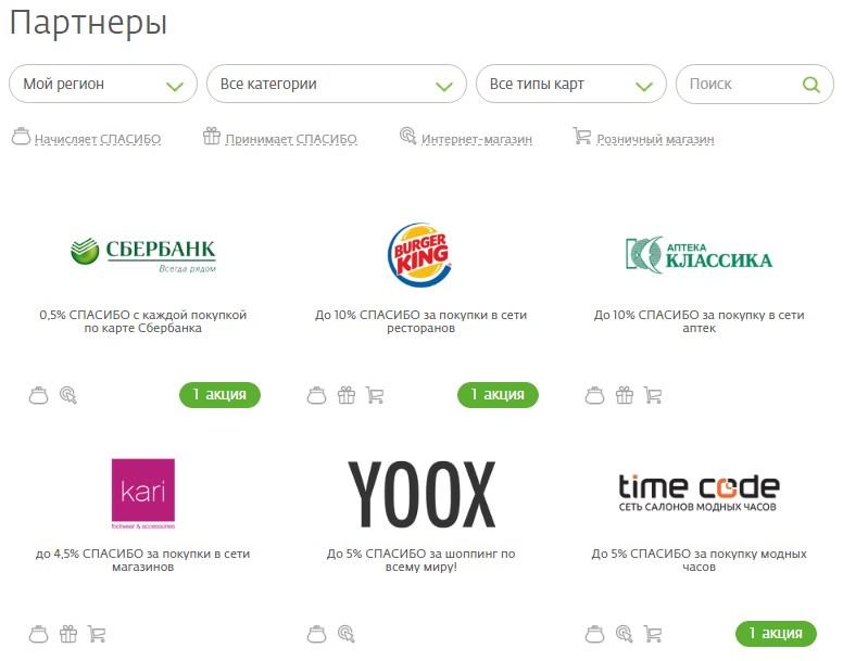 Компании партнеры принимающие участие в программе Спасибо от Сбербанка